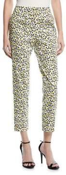 Escada Mid-Rise Straight-Leg Lemon-Print Ankle Pants