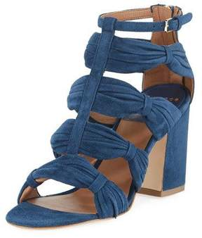 Laurence Dacade Rocky Ruched Suede T-Strap Sandal