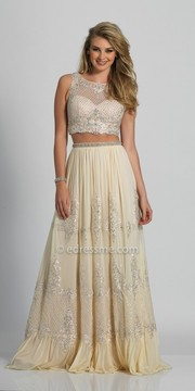 Dave and Johnny Damask Rhinestone Applique Two Piece Prom Dress