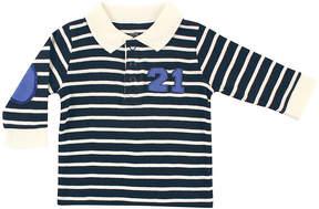 Hudson Baby Navy & Cream Stripe Long-Sleeve Polo - Newborn & Infant