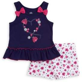 Kids Headquarters Baby Girl's Two-Piece Heart Top and Shorts Set
