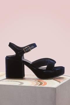 Jil Sander Velvet high heels sandals