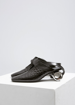 J.W.Anderson Black Crocodile Cylinder Heel Ballet Shoe