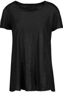 RtA Nicola Distressed Coated-Cotton And Cashmere-Blend T-Shirt