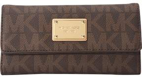 Michael Kors MICHAEL Jet Set Checkbook Logo Wallet - BROWN - STYLE