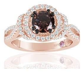 LeVian Suzy Rose Sterling Silver Brown Chocolate And White Cubic Zirconia Engagement Ring.