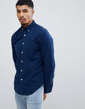 Abercrombie & Fitch Button Down Collar Slim Fit Oxford Shirt in Navy