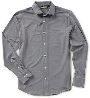Murano Performance Slim-Fit Long Sleeve Spread Collar Gingham Shirt
