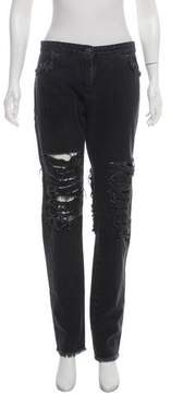 Christopher Kane Mid-Rise Distressed Jeans