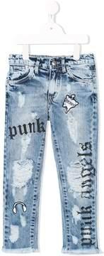 John Richmond Kids punk patch distressed jeans