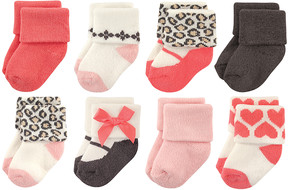 Luvable Friends Pink Leopard Eight-Pair Sock Set - Infant