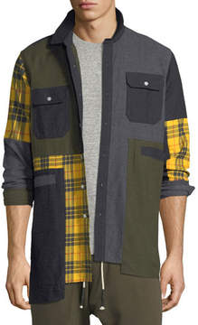 Mostly Heard Rarely Seen UNEVEN MIX PATCH FLANNEL SHI