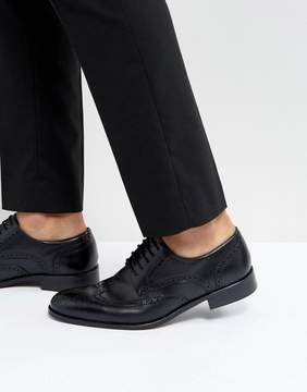 Dune Wing Tip Shoes Black Leather
