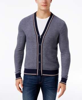 Michael Kors Men's Tipped Stripe Cotton Midnight Cardigan Size Large
