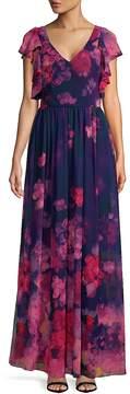 David Meister Women's Floral Chiffon Gown