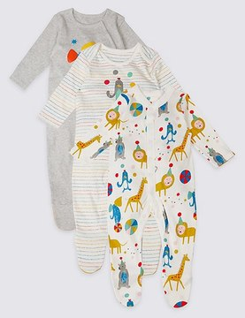 Marks and Spencer 3 Pack Pure Cotton Animal Party Sleepsuits