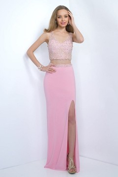 Blush Lingerie Two-piece Bejeweled V-Neck Jersey Sheath Gown 11107