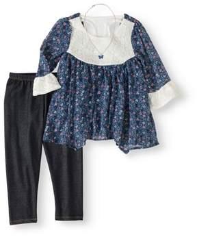 Nannette Little Girls 4-6X Floral Lace Top, Legging and Necklace 3-Piece Outfit Set