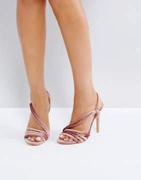 Public Desire Seek Blush Velvet Strappy Heeled Sandals
