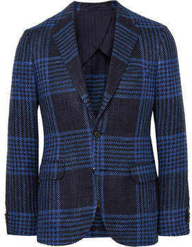 Piombo MP Massimo Blue Slim-Fit Checked Silk And Cotton-Blend Blazer