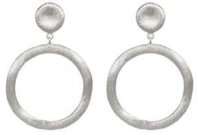 Rivka Friedman White Rhodium Clad Circle Earrings