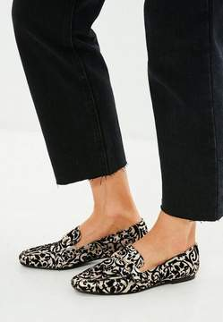Missguided Black Brocade Buckle Loafers