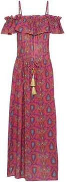Figue Cold-Shoulder Printed Cotton-Blend Maxi Dress