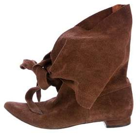 Delman Suede Pointed-Toe Mid-Calf Boots