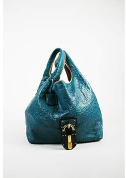Loewe Pre-owned Blue Multicolor Ostrich calle Oversized Hobo Bag.