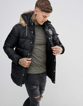 Hype Padded Parka In Black With Faux Fur Hood