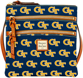Dooney & Bourke Georgia Tech Yellow Jackets Triple-Zip Crossbody Bag - NAVY - STYLE