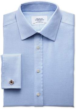 Charles Tyrwhitt Classic Fit Non-Iron Imperial Weave Sky Blue Cotton Dress Shirt French Cuff Size 17/34