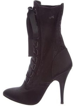 Balmain Satin Lace-Up Ankle Boots