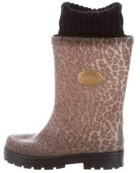 Dolce & Gabbana Girls' Leopard Print Rubber Rain Boots