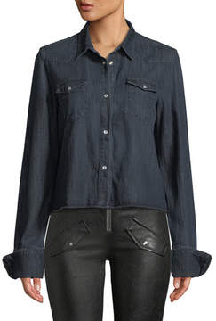 RtA Ashley Snap-Front Long-Sleeve Dark-Wash Denim Shirt