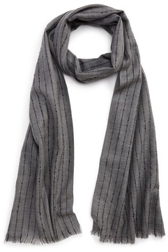 John Varvatos Men's Pinstripe Double Face Merino Wool Scarf