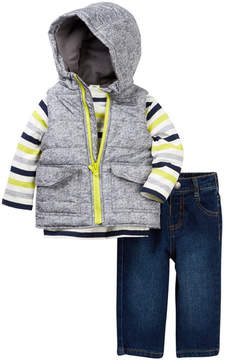 Little Me Heathered 3-Piece Vest Set (Baby Boys)