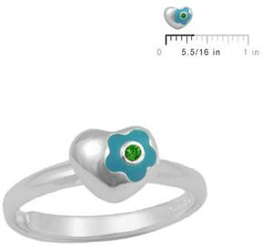 Ice Silver May Birthstone Flower Heart Girls' Adjustable RIng (Size 3 to 7)