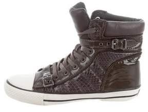 Ash Embossed High-Top Sneakers