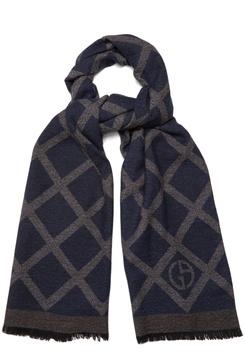 Giorgio Armani Crosshatch-print wool and silk-blend scarf