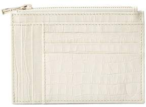Aspinal of London | Double Sided Zipped Card Coin Holder Deep Shine Ivory Small Croc | Deep shine ivory small croc