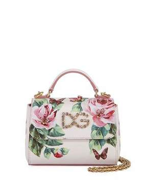 Dolce & Gabbana Girls' Floral Leather Top Handle bag w/ Crystal Embellishment