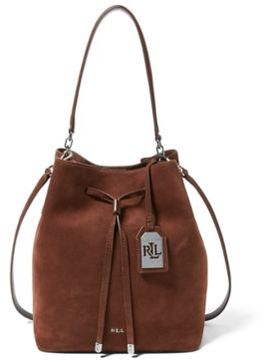 Ralph Lauren Suede Debby Drawstring Tote Burnished Brown One Size
