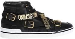 Moschino Men's Black Leather Hi Top Sneakers.