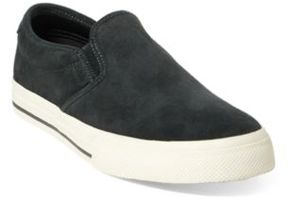 Ralph Lauren Vaughn Suede Slip-On Sneaker Dark Carbon Grey 10.5