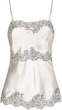 Carine Gilson Tiered Lace Insert Silk Camisole