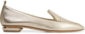 Nicholas Kirkwood Beya Metallic Textured-leather Point-toe Flats - Gold
