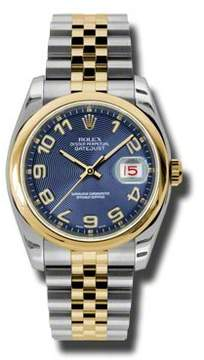 Rolex Datejust 36 Blue Concentric Dial Stainless Steel and 18K Yellow Gold Jubilee Bracelet Automatic Men's Watch
