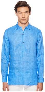 Etro Linen Popover Shirt Men's Long Sleeve Button Up