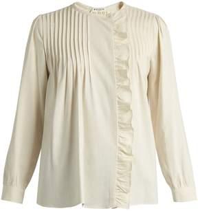 Masscob Benat ruffled pintucked-pleated silk top